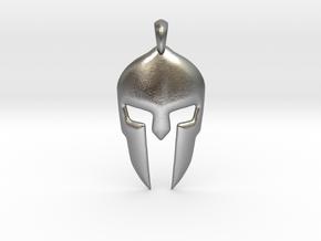 Spartan Helmet Jewelry Pendant in Natural Silver