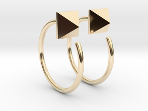 Pyramid Stud Mini Hoops in 14K Yellow Gold