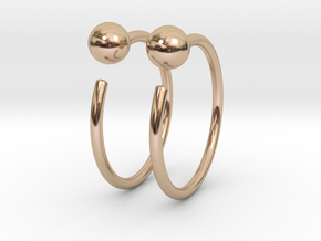 Small Ball Stud Hoops in 14k Rose Gold