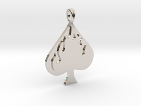 Flaming SPADE Jewelry Symbol Lucky Pendant  in Platinum