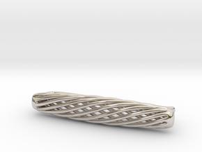Skeleton Helix Tie Clip in Rhodium Plated Brass