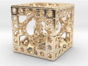 Hyper Solomon cube in 14k Gold Plated Brass