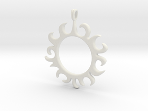Tribal Sun Design Jewelry Symbol Pendant in White Natural Versatile Plastic