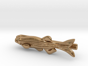 Zebrafish Tie Bar - Science Jewelry in Polished Brass