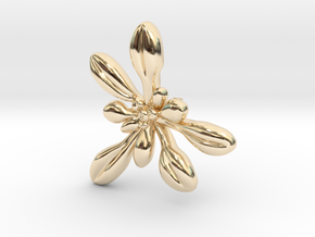 Arabidopsis Lapel Pin -Science Jewelry in 14K Yellow Gold