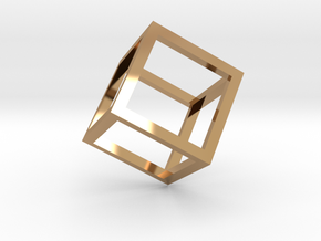 Cube Outline Pendant in Polished Brass