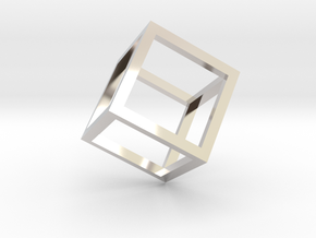 Cube Outline Pendant in Rhodium Plated Brass