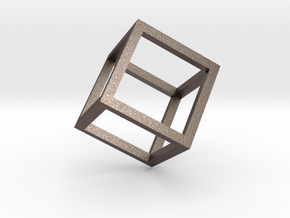 Cube Outline Pendant in Polished Bronzed Silver Steel