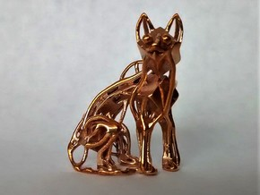 GeoCat Cat Pendant Charm in Polished Bronze