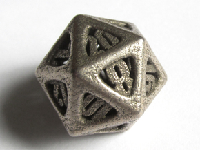Thoroughly Modern Die20 in Polished Bronzed Silver Steel