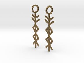 Prosperity Bind Rune Earrings-brs in Natural Bronze