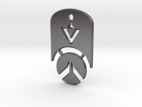 Overwatch Dog Tag *beveled edges* (Necklace) in Polished Nickel Steel
