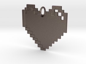 8-bit Heart in Polished Bronzed Silver Steel