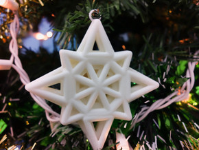 Wireframe Star Ornament in White Strong & Flexible