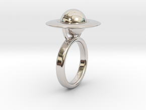 Saturn Ring (size 6) in Rhodium Plated Brass