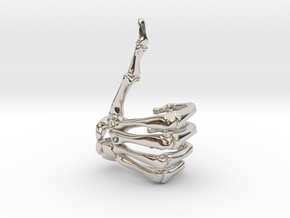 Thumbs Up Skeleton Hand in Rhodium Plated Brass