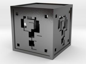 8 bit Mario Block in Polished Silver
