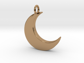 Crescent Moon Pendant in Polished Brass