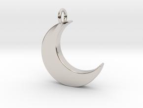 Crescent Moon Pendant in Rhodium Plated Brass