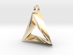 Penrose Triangle Pendant in 14k Gold Plated Brass