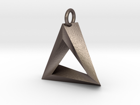 Penrose Triangle Pendant in Polished Bronzed Silver Steel