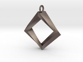 Impossible Square Pendant in Polished Bronzed Silver Steel
