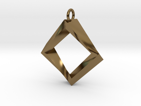 Impossible Square Pendant in Polished Bronze