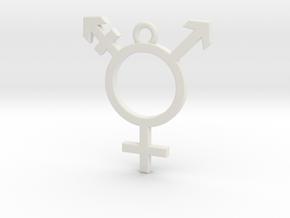 Transgender Pendant in White Natural Versatile Plastic