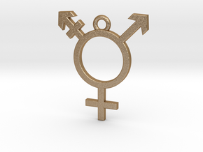 Transgender Pendant in Matte Gold Steel