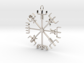 Vegvísir Pendant in Rhodium Plated Brass