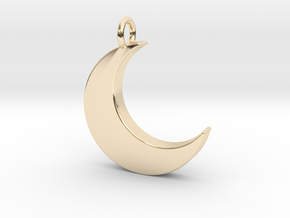Crescent Moon Pendant in 14K Yellow Gold