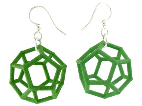 Dodecahedron Earrings, clean style in Green Processed Versatile Plastic