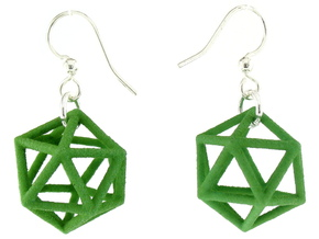 Icosahedron Earrings, clean style in Green Processed Versatile Plastic