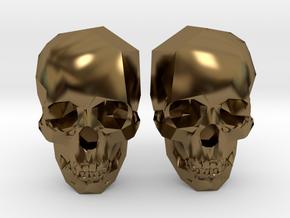 Cufflink Skull in Polished Bronze