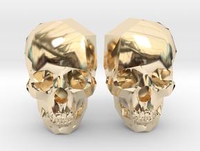 Cufflink Skull in 14k Gold Plated Brass