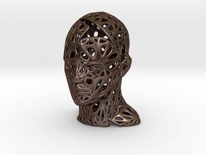 Male Voronoi Head Scale 0.5 in Polished Bronze Steel