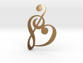 Heart Clef Pendant in Natural Brass