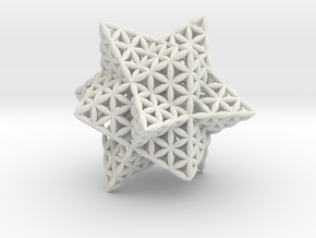 Stellated Flower of Life Vector Equilibrium in White Strong & Flexible