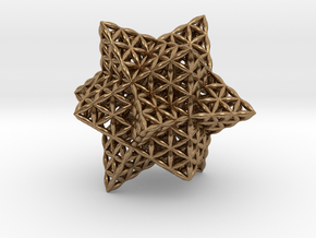 "Stellated Flower of Life Vector Equilibrium 2.3"" in Natural Brass"