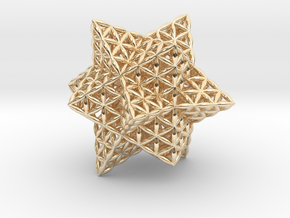 Stellated Flower of Life Vector Equilibrium in 14k Gold Plated Brass