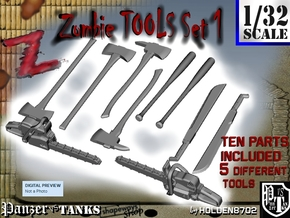 1-32 Zombie Tools Set 1 in Smooth Fine Detail Plastic