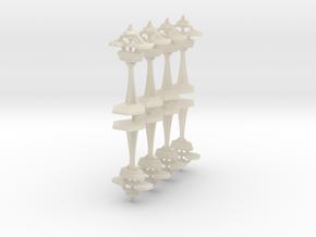"MicroFleet ""Alamo""-Class Defense Outposts (8pcs) in White Acrylic"