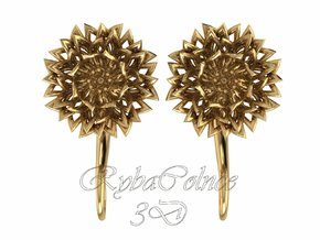 Plugs / gauges/ The Chrysanthemums 6 g (4 mm) in Polished Brass