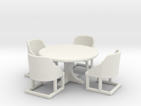 Cafe Table and chairs. Bistro style table and four in White Strong & Flexible