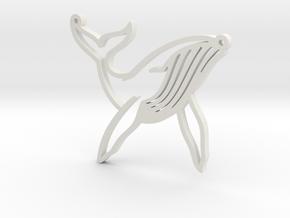 Whale Pendant in White Natural Versatile Plastic