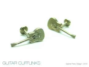 Guitar Cufflinks in Polished Bronzed Silver Steel