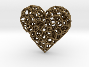 Voronoi Heart pendant (version 2) in Polished Bronze