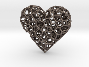 Voronoi Heart pendant (version 2) in Polished Bronzed Silver Steel