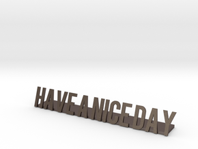 Have a nice day desk business logo 1 in Polished Bronzed Silver Steel