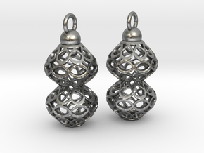 Voronoi style Double Bead Earrings in Natural Silver
